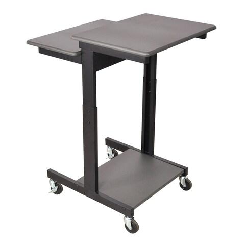 Luxor Gray Adjustable-height Wheeled Steel Computer Workstation Desk