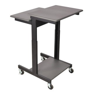 Luxor Gray Adjustable-height Wheeled Steel Computer Workstation Desk