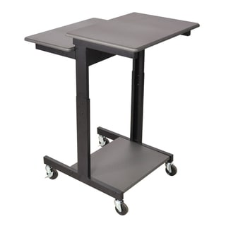 Luxor Gray Adjustable Height Wheeled Steel Computer Workstation Desk