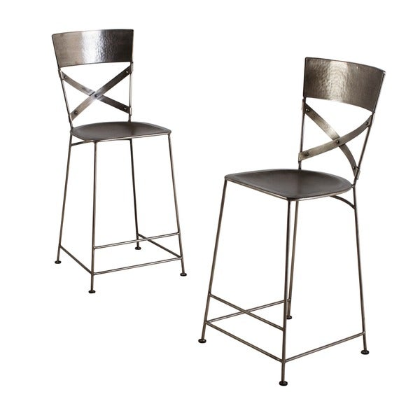 Jabalpur Antique Nickel Counter Stool (India) (Set of 2)