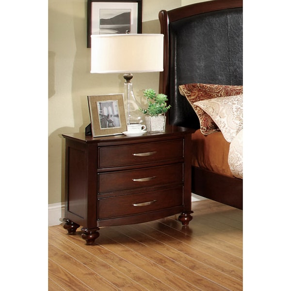 Furniture of America Monti Brown Cherry 3-drawer Night Stand