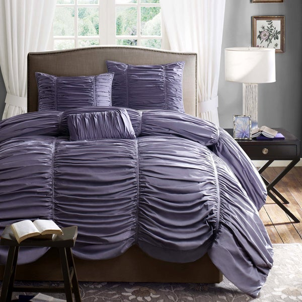 Madison Park 'Melrose' Plum 4-piece Duvet Cover Set