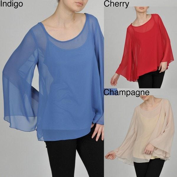 AnnaLee + Hope Women's Sheer Bell Sleeve Top/ Cami