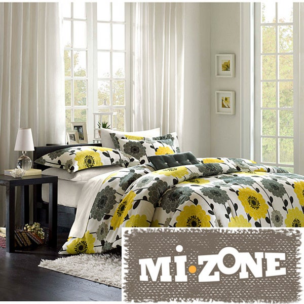 Mi Zone Blythe Yellow/ Grey 4-piece Comforter Set