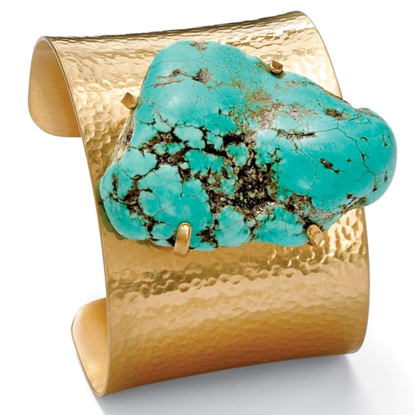 "Gold Tone Hammered Cuff Bracelet (57mm), Genuine Green Turquoise, 8"" plus 2"" extension. Opens flyout."