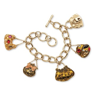"Crystal ""Handbag Heaven"" Charm Bracelet in Enamel and Yellow Gold Tone Bold Fashion"