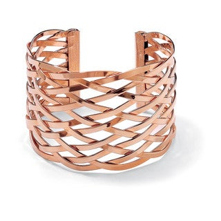 "Lattice Cuff Bracelet Rose Gold Plated 7 1/2"" Bold Fashion"