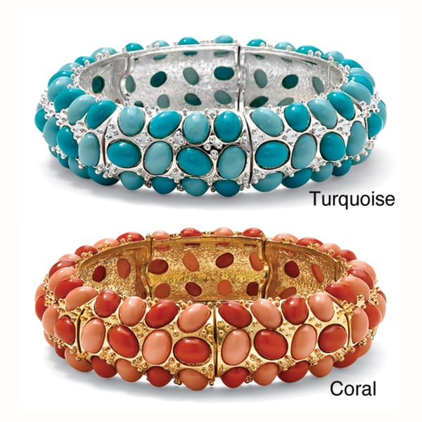 """Simulated Coral or Turquoise Stretch Bracelet in Yellow Gold Tone 9"""" Bold Fashion"""