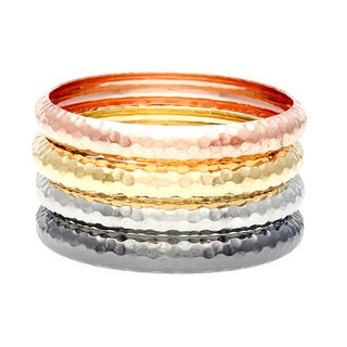 PalmBeach Gold Tone, Silvertone, Rose Gold-Plated Black Rhodium-Plated Hammered 4-Piece Bangle Bracelet Set Tailored