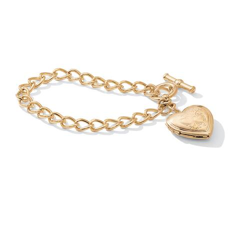 "Heart Locket Bracelet in Yellow Gold Tone 8"" Tailored"