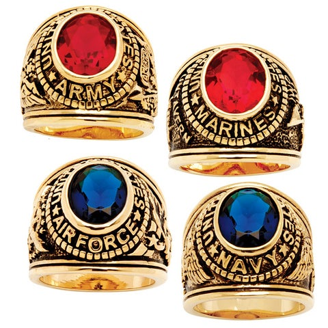 Antiqued 14k Gold-plated Oval-cut Simulated Sapphire or Ruby Military Ring
