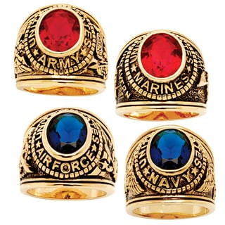 PalmBeach Men's Oval-Cut Simulated Sapphire or Ruby Military Ring in Antiqued 14k Gold-Plated