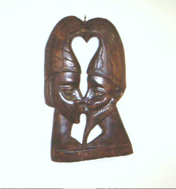 Handmade Lovers Profile Wooden Wall Hanging (Ghana)