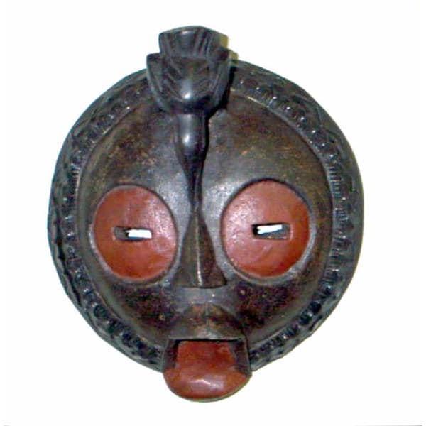 Bakota Black Brass and Wood Artisanal Bird Mask  Handmade in , Handmade in Ghana