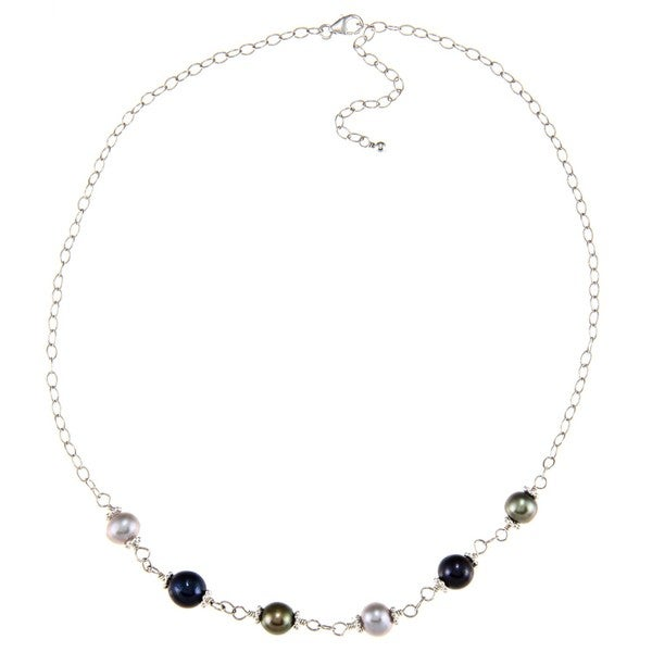 Lola's Jewelry Sterling Silver Multi-colored FW Pearl Necklace (7-8 mm)