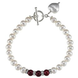 Lola's Jewelry Silverplated White and Red Pearl Heart Bracelet (7-8 mm)