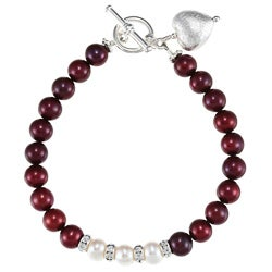 Lola's Jewelry Silverplated Red and White Pearl Heart Bracelet (7-8 mm)