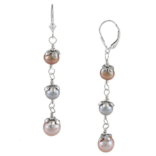 Charming Life Sterling Silver Multi-colored FW Pearl Earrings (6-8 mm)