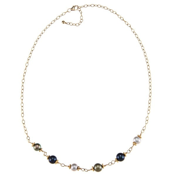 Lola's Jewelry 14k Goldfill Multi-colored FW Pearl Necklace (7-8 mm)