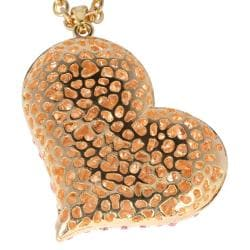 PalmBeach Rose Goldplated Pink Crystal Heart Necklace Color Fun - Thumbnail 1