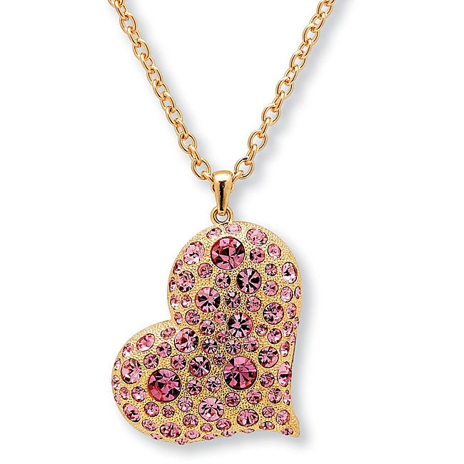 PalmBeach Rose Goldplated Pink Crystal Heart Necklace Color Fun