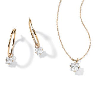 2.60 TCW Princess-Cut Cubic Zirconia 10k Gold 2-Piece Necklace and Drop Earrings Set Class|https://ak1.ostkcdn.com/images/products/6630962/P14196283.jpg?impolicy=medium