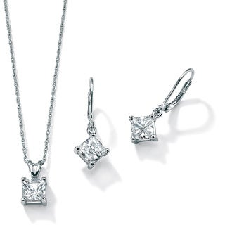 3.60 TCW Princess-Cut Two-Piece Cubic Zirconia Jewelry Set in Platinum over Sterling Silve