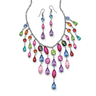Multicolor Crystal Bib Necklace and Earrings Two-Piece Set in Antiqued Silvertone Color Fu