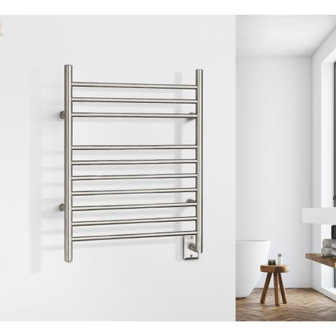 WarmlyYours 10-Bar Infinity Towel Warmer, Hardwired, Brushed Stainless Steel - Silver