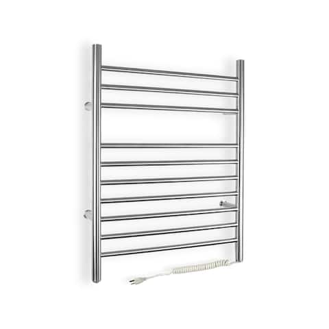 WarmlyYours 10-Bar Infinity Towel Warmer, Plug-in, Stainless Steel - Silver