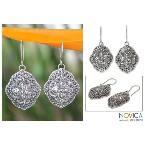 Handmade Sterling Silver 'Tribal Shields' Dangle Earrings (Thailand)