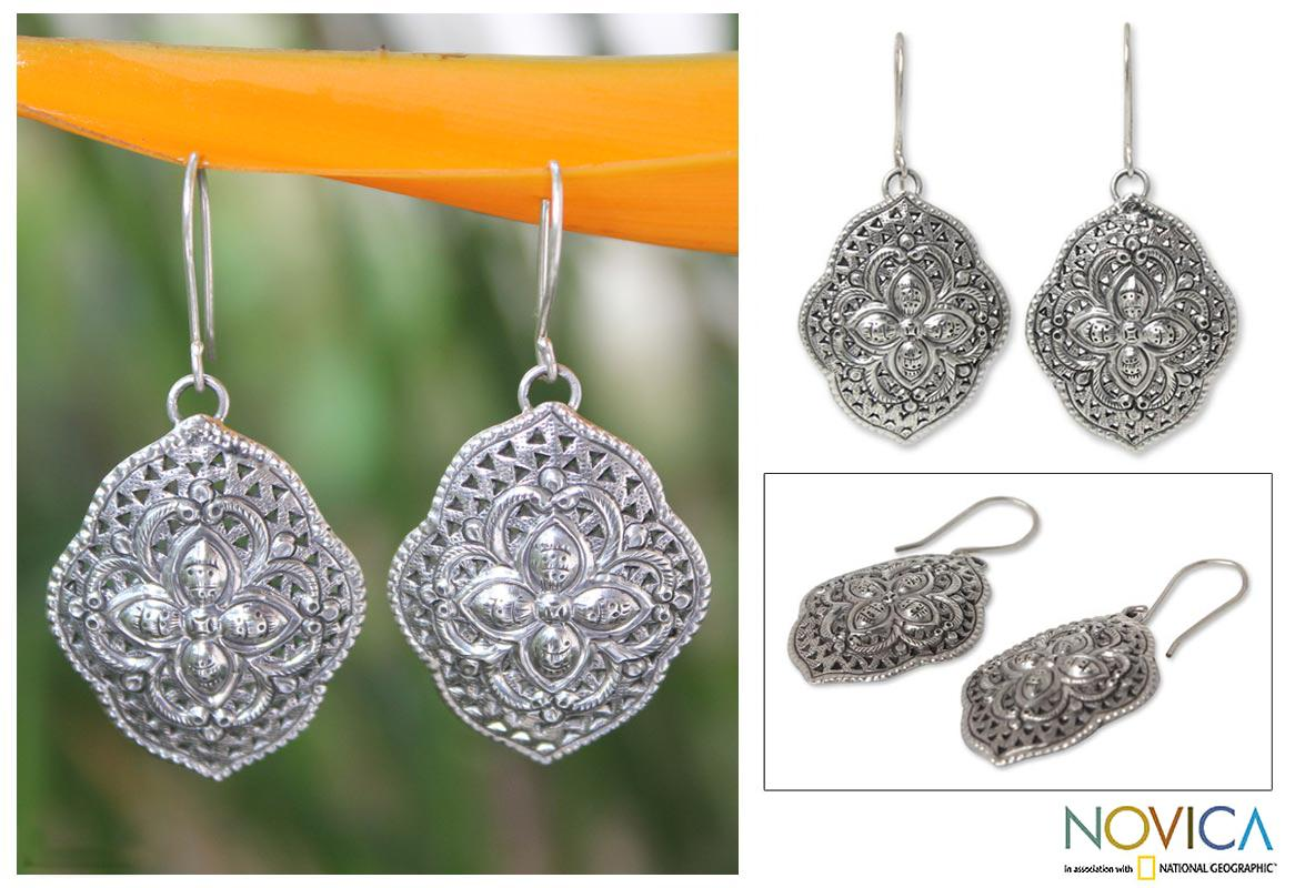 Handmade Sterling Silver 'Tribal Shields' Dangle Earrings (Thailand)
