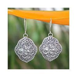 Sterling Silver 'Tribal Shields' Dangle Earrings (Thailand)