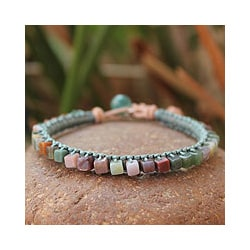 Handmade Jasper 'Cubic Pastels' Beaded Bracelet (Thailand)