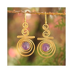 Gold Overlay 'Follow The Dream' Amethyst Dangle Earrings (Thailand)