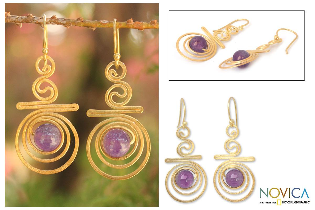 Handmade Gold Overlay 'Follow The Dream' Amethyst Dangle Earrings (Thailand)