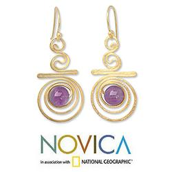 Handmade Gold Overlay 'Follow The Dream' Amethyst Dangle Earrings (Thailand) - Thumbnail 1