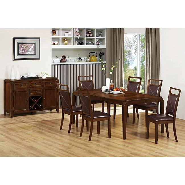 Brown Oak Dining Table with 18-inch Leaf - Free Shipping Today ...