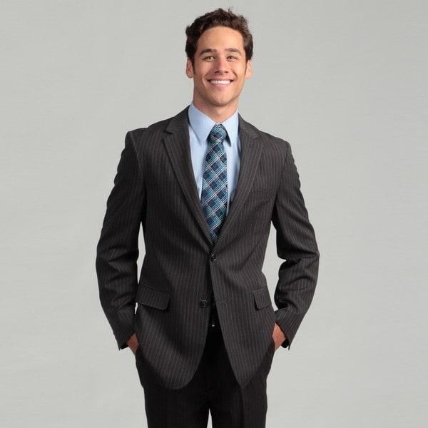 Oxford Republic Slim Fit Charcoal Stripe Suit