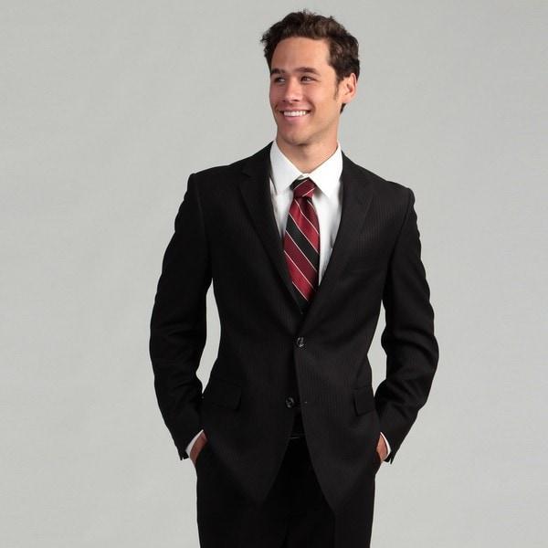 Oxford Republic Slim Fit Black Pindot Stripe Suit