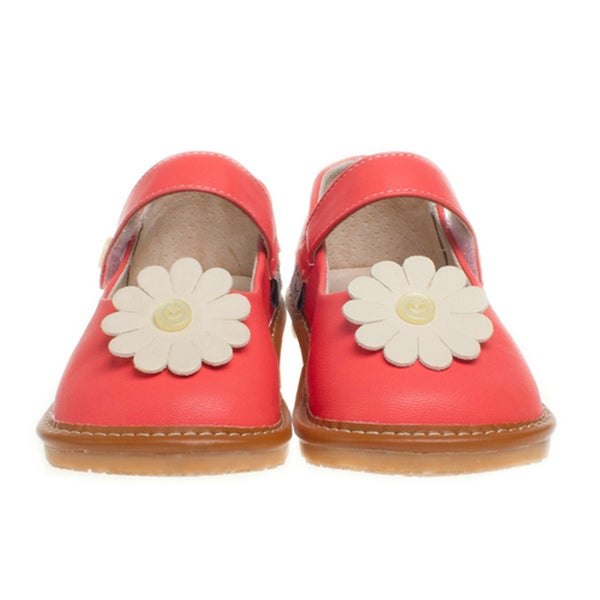Little Blue Lamb Red Leather Toddler Squeaky Shoes