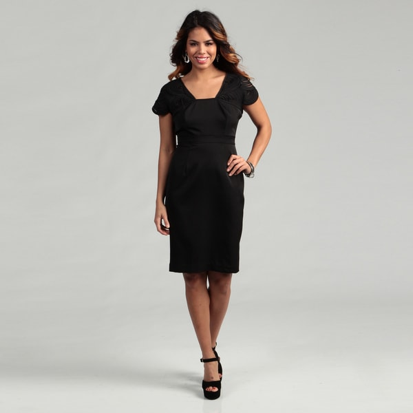 Adrianna Papell Women's Novelty Sleeve Fitted Dress FINAL SALE