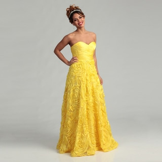 Adrianna Papell Women's Yellow Rosette Gown