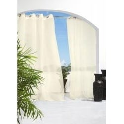 Escape 96-inch Indoor/Outdoor Sheer Voile Curtain Panel Pair (Ivory)