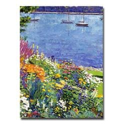 "David Lloyd Glover 'Sailboat Bay Garden' 24"" x 18"" Canvas Art"