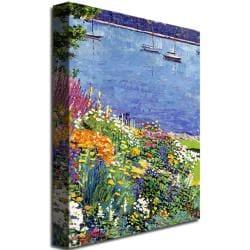 "David Lloyd Glover 'Sailboat Bay Garden' 47"" x 35"" Canvas Art - Thumbnail 1"