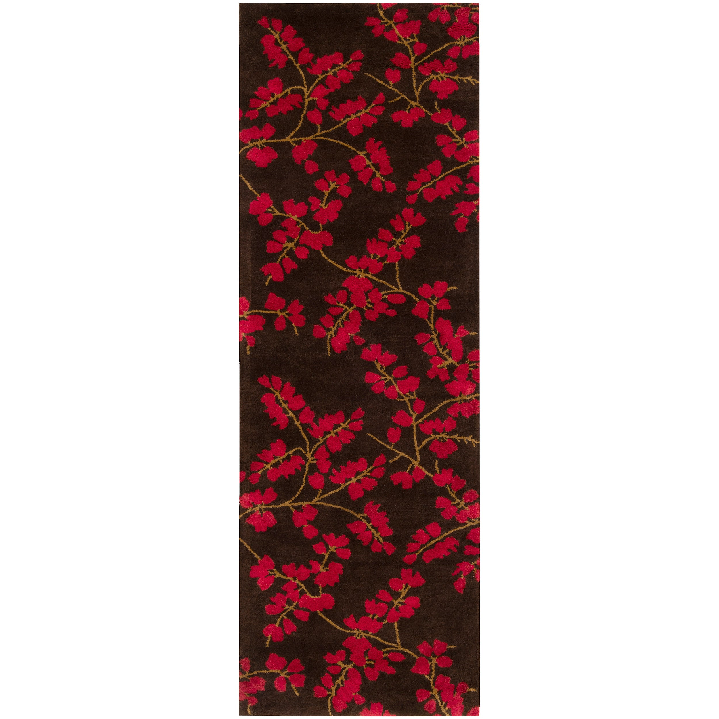 Hand-tufted Red Safewa Wool Rug (2'6 x 8')