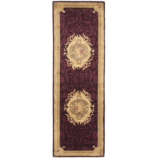 Safavieh Handmade French Aubusson Red Premium Wool Rug (2'6 x 10') - 2'6 x 10'