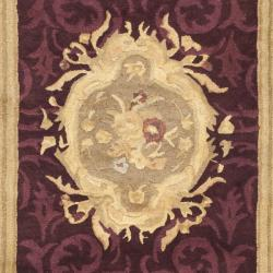 Safavieh Handmade French Aubusson Red Premium Wool Rug (2'6 x 10') - Thumbnail 2