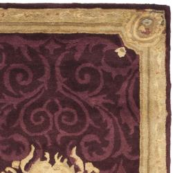 Safavieh Handmade French Aubusson Red Premium Wool Rug (2'6 x 12') - Thumbnail 1